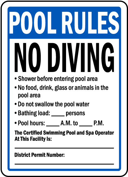 Washington Dc Pool Rules No Diving Sign F8243 By