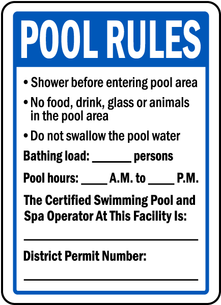 District of Columbia Pool Rules Sign