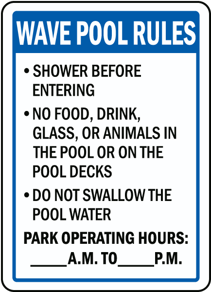 Florida Water Park Pool Rules Sign
