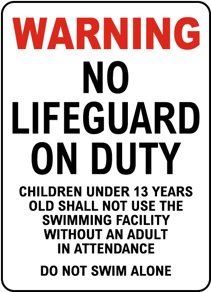 Idaho No Lifeguard Sign