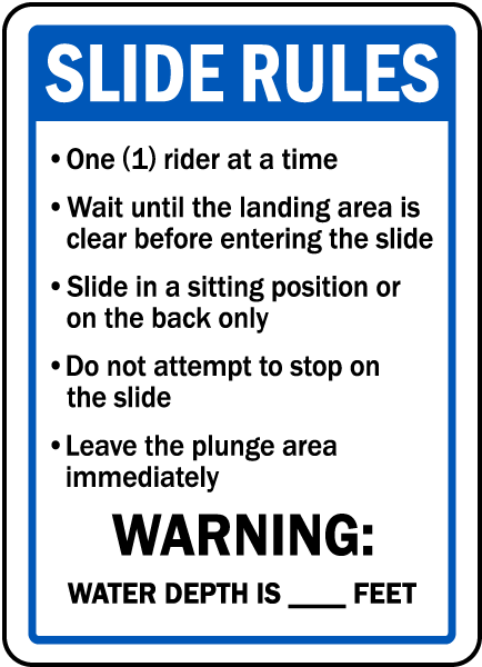 Indiana Pool Slide Rules Sign