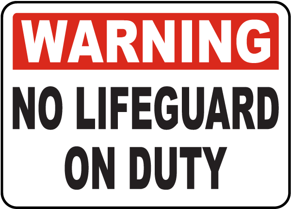 Lawrence County Kansas No Lifeguard Sign