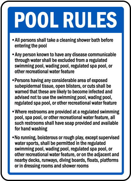 Wichita County Kansas Pool Rules Sign