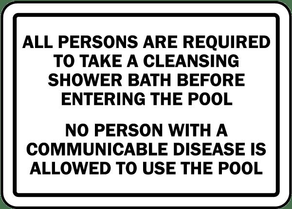 Massachusetts Shower Required Sign