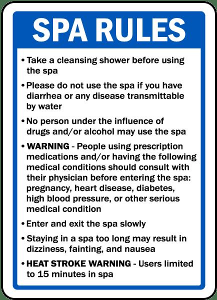 Montana Spa Rules Sign