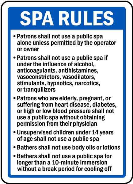 New Hampshire Spa Rules Sign