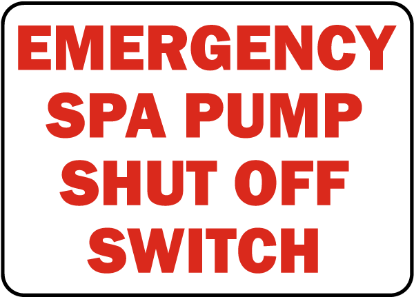 New Jersey Spa Pump Shut Off Sign