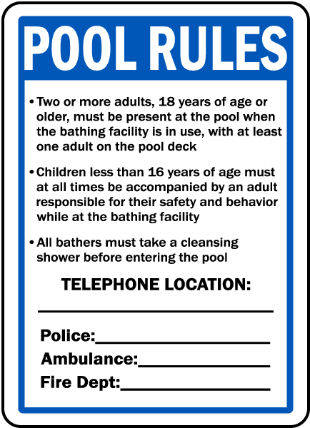 New York Pool Rules Sign