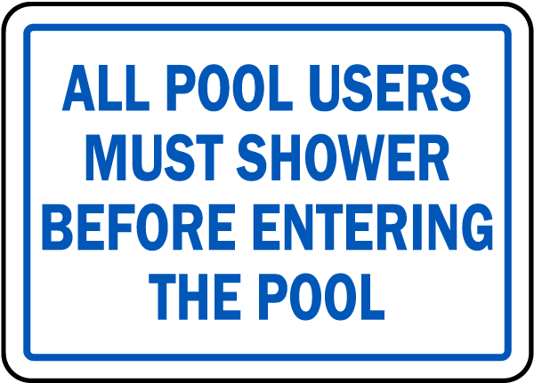North Carolina Shower Before Entering Pool Sign