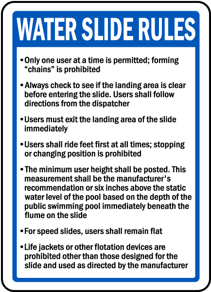Ohio Water Slide Rules Sign