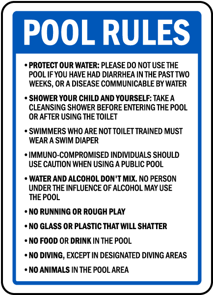 Oregon Pool Rules Diving Areas Sign