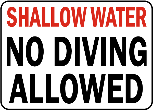 South Carolina No Diving Allowed Sign