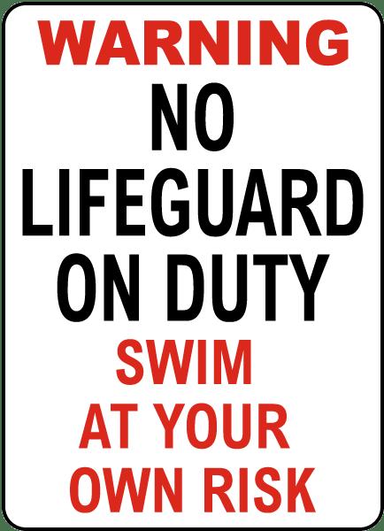South Carolina No Lifeguard Sign