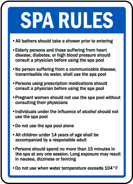 Spa Rules Sign