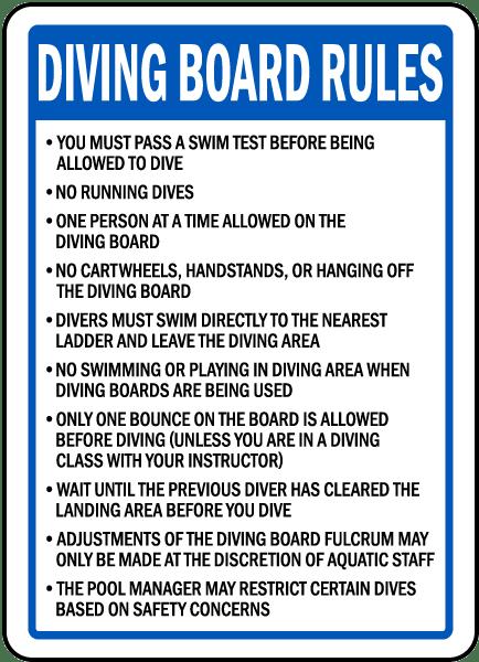 Washington Diving Board Rules Sign