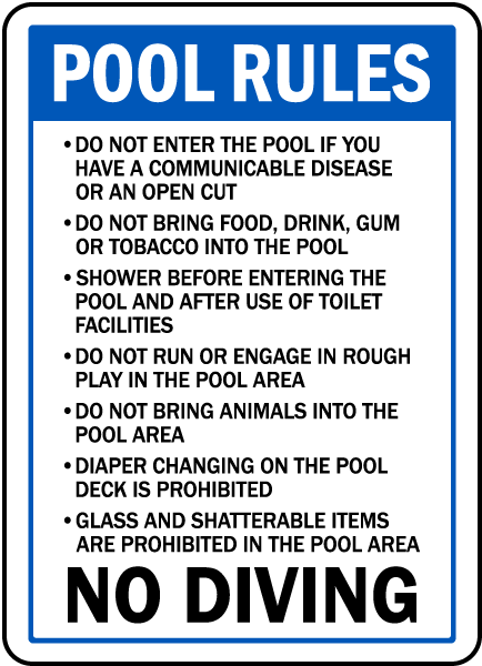 Wisconsin Pool Rules No Diving Sign