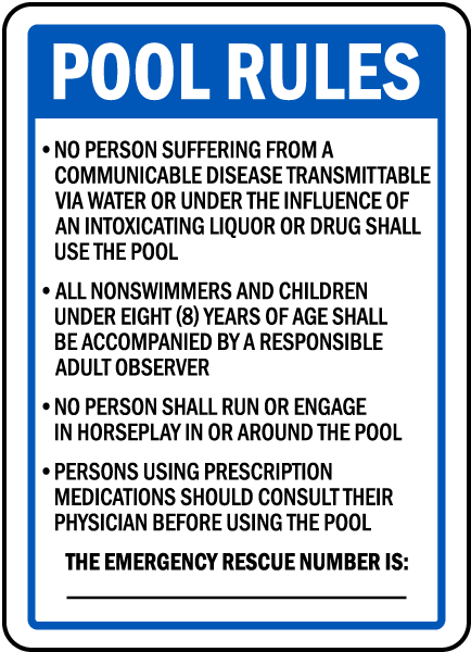 wyoming pool rules sign - Pool Signs