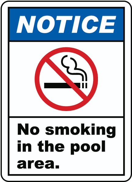 No Smoking In The Pool Area Sign