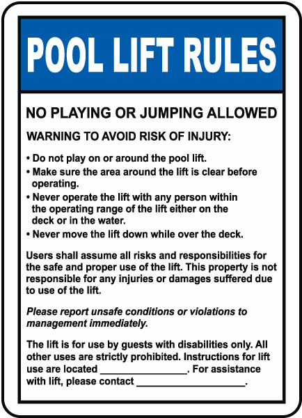 Pool lift rules sign f8408 by for Pool design rules