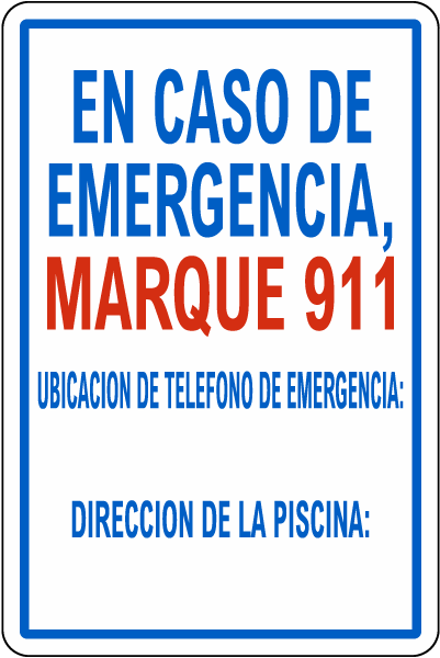 Texas Spanish In Case Of Emergency Pool Sign