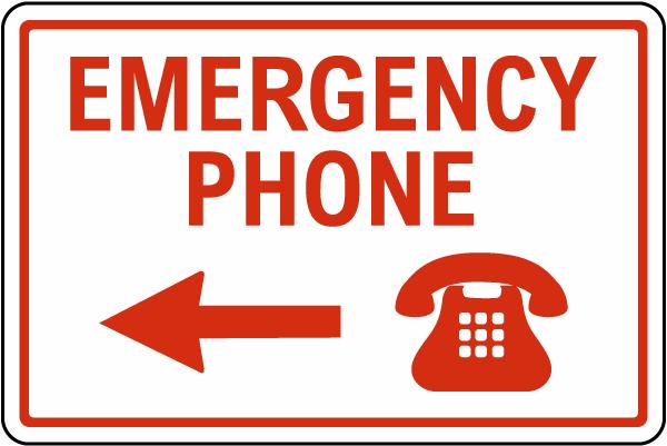 Texas Emergency Phone Left Arrow Sign