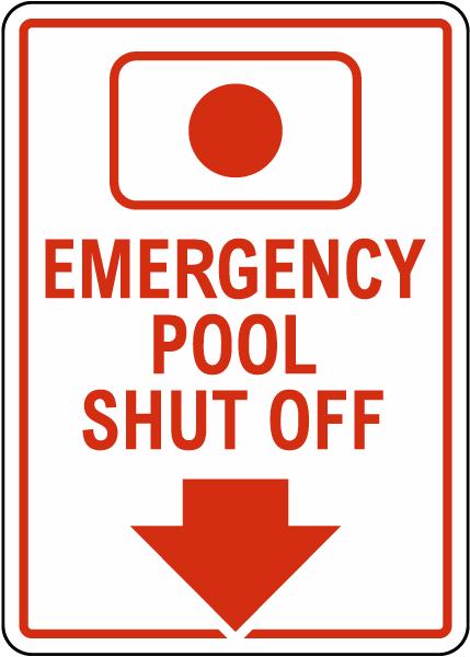 South Carolina Emergency Pool Shut Off Sign