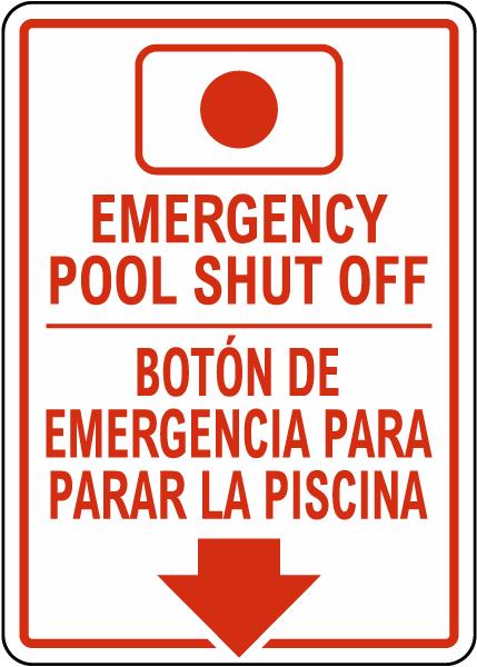 South Carolina Bilingual Emergency Pool Shut Off Sign