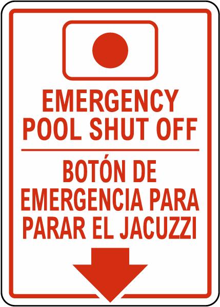 South Carolina Bilingual Emergency Spa Shut Off Sign