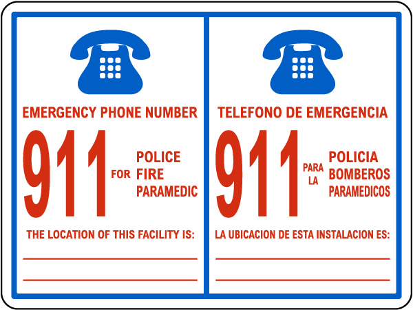 Bilingual Emergency Phone Sign