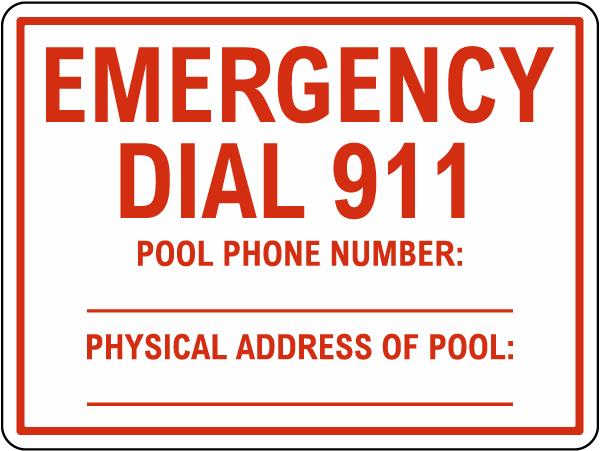 Emergency Dial 911 Pool Sign