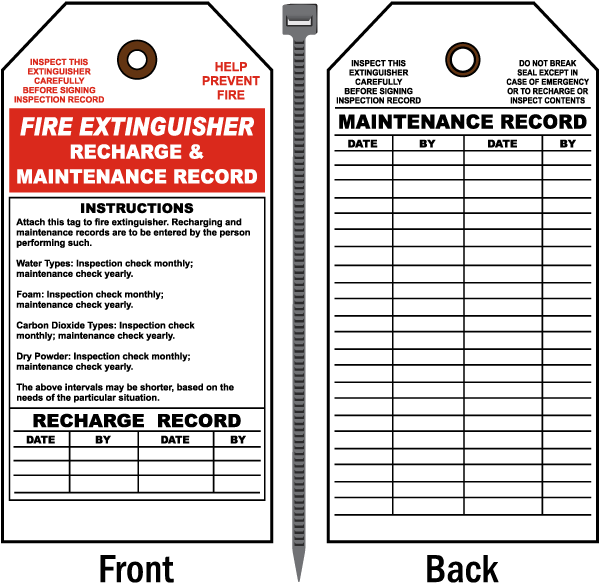 Fire Extinguisher Recharge and Maintenance Record Tag