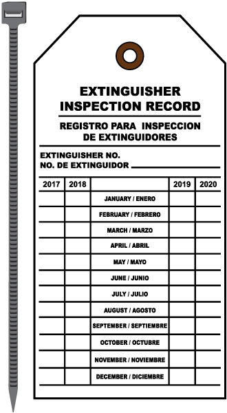 Extinguisher Inspection Record Tag