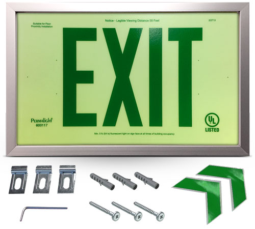 Photoluminescent Framed Green Exit Sign