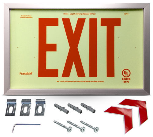 Photoluminescent Framed Red Exit Sign