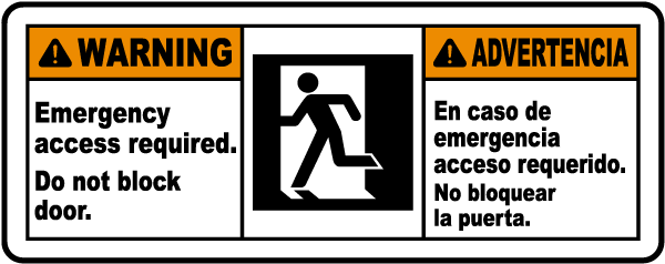 Bilingual Emergency Access Sign