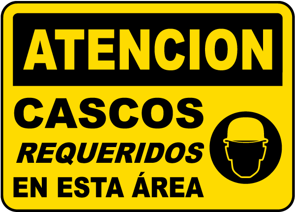 Spanish Caution Hard Hats Required In This Area Sign