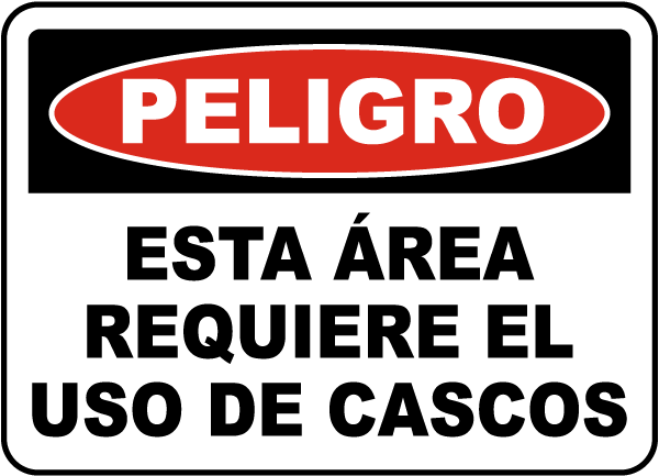 Spanish Danger Hard Hat Area Sign