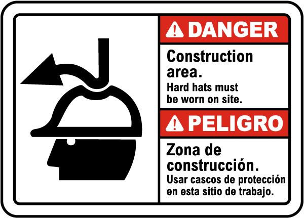 Bilingual Danger Hard Hats Must Be Worn on Site Sign