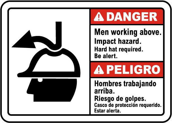 Bilingual Danger Men Working Above Impact Hazard Sign