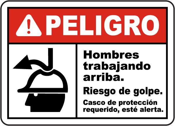 Spanish Danger Men Working Above Impact Hazard Sign