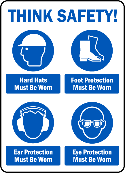 Think Safety PPE Must Be Worn Sign
