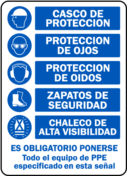 Spanish Required PPE Must Be Worn Sign