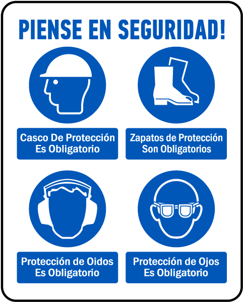 Spanish Think Safety PPE Must Be Worn Sign
