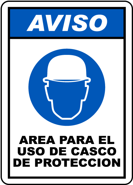 Spanish Notice Hard Hat Area Sign