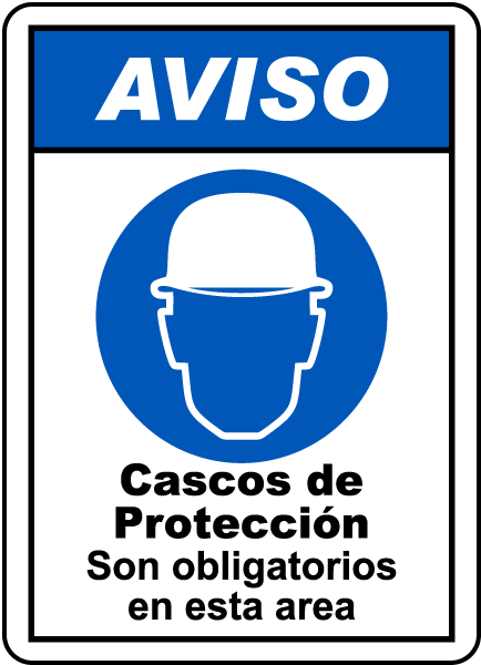 Spanish Notice Hard Hats Must Be Worn In This Area Sign