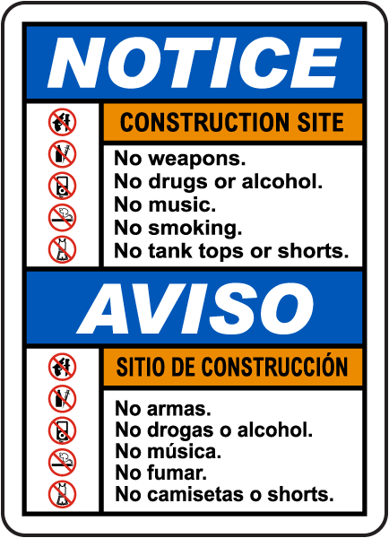 Bilingual Notice Construction Site Rules Sign