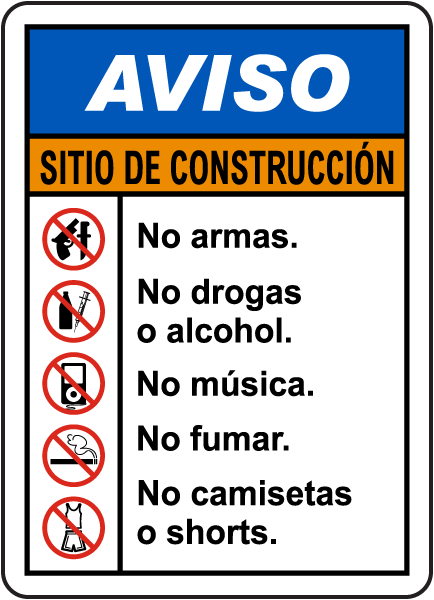 Spanish Notice Construction Site Rules Sign