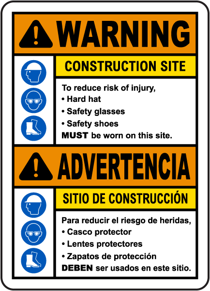 Bilingual Warning Construction Site Sign