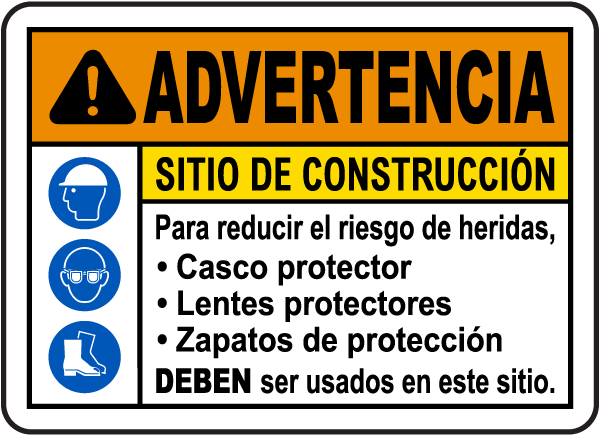 Spanish Warning Construction Site Risk of Injury Sign