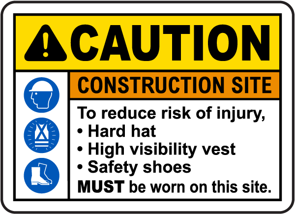 To Reduce Risk of Injury PPE Sign